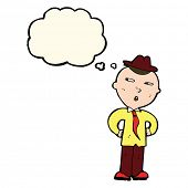 pic of crazy hat  - cartoon man wearing hat with thought bubble - JPG