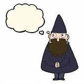 picture of wizard  - cartoon wizard with thought bubble - JPG