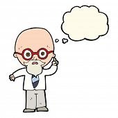 image of professor  - cartoon professor with thought bubble - JPG