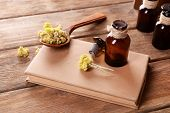 foto of roughage  - Old book with dry flowers and bottles on table close up - JPG