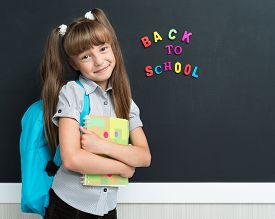 foto of schoolgirl  - Back to school concept - JPG