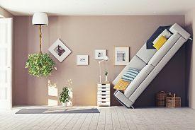 stock photo of errat  - strange living room  interior - JPG