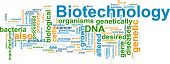 Word cloud concept illustration of  biotechnology research