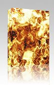 Software package box Fiery explosion and flames texture, rendered illustration