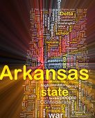 Background concept wordcloud illustration of Arkansas American state glowing light
