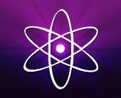 Ilustração científica de símbolo nuclear atômica do átomo em órbita