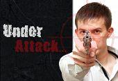 Collage Guy With A Gun. At Gunpoint. Under Attack