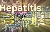 Word cloud concept illustration of Hepatitis disease glowing light effect