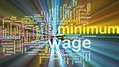 image of sweatshop  - Word cloud concept illustration of minimum wage glowing light effect - JPG