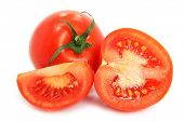 fresh tomatoes with cut isolated on the white background