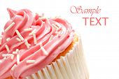 Cupcake with swirls of creamy strawberry frosting on white background with copy space.  Macro with s