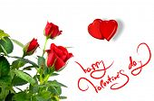 picture of valentines day card  - red roses with hearts and greetings for valentines day - JPG