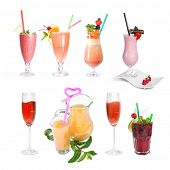 set of various cold cocktails isolated on white
