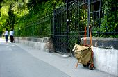 stock photo of newsboy  - the bag of mailman on the street - JPG
