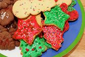 foto of christmas cookie  - Assorted Christmas cookies piled on a plate - JPG