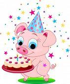 Piglet  holding birthday cake, smiling. Vector illustration