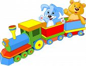 Toy train. Dog and Teddy sitting in car and waiving hello.