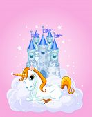 Vector Illustration of a Fairy Tale Castle and Unicorn. All layers are separated