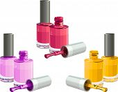 Bottles of  nail polish, isolated on white background. Vector