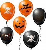 Halloween balloon set. Includes bat, skull, pumpkin, spider and spider web.