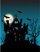 Haunted house on hill with spooky trees, moon and bats