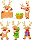 Five separately grouped little Rudolphs. Vector illustration Christmas