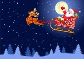 Vector background with  Santa Claus flying his sleigh through the night sky.  Layered file for easie