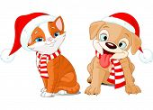 Vector illustration of Christmas cartoon puppy and kitten