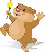 picture of groundhog day  - Illustration of Groundhog dancing with first flower for Groundhog Day - JPG