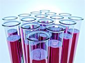Ten Test Tubes With Pink Fluid And Shallow Dof