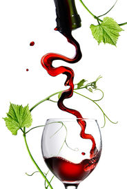 picture of red wine  - Pouring red wine in glass with rod isolated on white - JPG