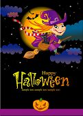 stock photo of shrew  - Halloween greeting card with witch - JPG
