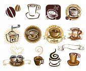 Conjunto de iconos de café. Elementos de diseño. Ilustración del vector.