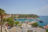 Aerial View Of Yacht Harbor And Red House Roofs In Old Town Timelapse Antalya, Turkey. Marine Bay At poster
