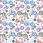 Seamless background of Hand drawn bicycles
