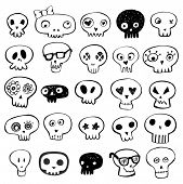 Skulls doodles vector set