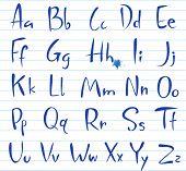 Doodle font, alfabeto escrito a mano.