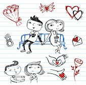 Dating.set of doodles on a love theme