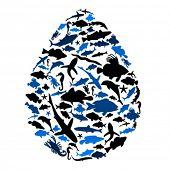 Vector drop of sea animals