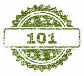 101 Stamp Seal Watermark With Dirty Style. Green Vector Rubber Print Of 101 Title With Dirty Texture poster