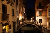 Nightlife Scene In Old European City. Venice Bridge And Canal, Italy poster
