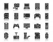 Device Silhouette Icons Set. Monochrome Web Sign Kit Of Gadgets. Electronics Pictogram Collection In poster