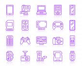 Device Thin Line Icons Set. Outline Vector Monochrome Web Sign Kit Of Gadget. Electronics Line Icon  poster