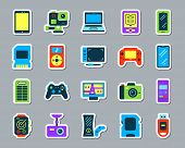 Device Sticker Icons Set. Web Flat Sign Kit Of Gadget. Electronics Pictogram Collection Includes Ebo poster