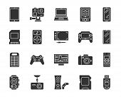 Device Silhouette Icons Set. Isolated Monochrome Web Sign Kit Of Gadget. Electronics Pictogram Colle poster