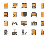 Device Silhouette Icons Set. Isolated On White Web Sign Kit Of Gadget. Electronics Pictogram Collect poster