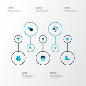 Season Icons Colored Set With Boot, Coat, Hazelnut And Other Jar Elements. Isolated Vector Illustrat poster