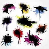 Set of Stylish Colorful Grunge Splashes