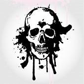 Hand Drawn Skull on Grunge Background