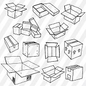 Set of Hand Drawn Empty Packages Outline